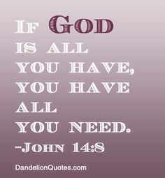 Inspiring and Uplifting God Quotes – God's Quotes to Uplift Your Spirit - If God is all you have, you have all you need