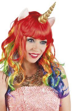 Peluca larga multicolor unicornio mujer: Esta peluca de unicornio tiene cuerno, orejas y pelo multicolor para dar un toque mágico a tu disfraz.Este artículo es original y perfecto para un disfraz de unicornio.La peluca...