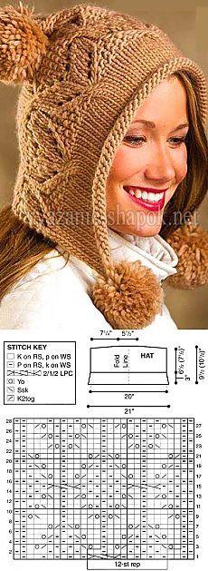 Оригинальная зимняя шапка с помпоном спицами | ВЯЗАНИЕ ШАПОК: женские шапки спицами и крючком, мужские и детские шапки, вязаные сумки