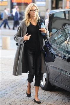 grey coat + leather trousers
