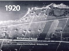 This aerial photo from 1920 shows Richmond Road in the vicinity of Mansfield Avenue. Photo from the National Air Photo Library. Ottawa River, Air Photo, Photo Library, Ontario, Maps, Canada, Backyard, Urban, History