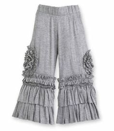 heather gray ruffle pants.  They are from Chasing Fireflies so of course they won't tell you who made them.  I hate that they don't reveal designers in their catalog