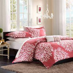 (Click to order - $64.99) Mizone Folklore 3 Piece Comforter Set - Raspberry - Twin/TXL From Mizone