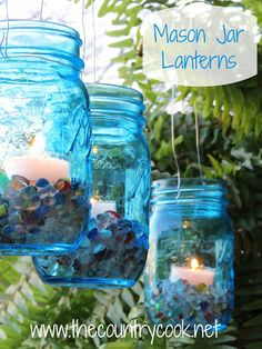 The Country Cook: Mason Jar Lanterns {an easy way to brighten up any outdoor celebration or for a cozy evening outside!}