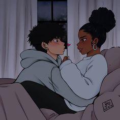 Black Couple Art, Cute Couple Art, Black Girl Art, Art Girl, Black Cartoon Characters, Black Girl Cartoon, Interracial Art, Black Art Painting, Cute Anime Coupes