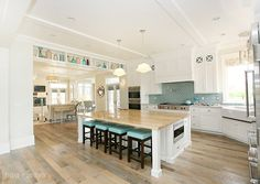 love the kitchen ceiling and island