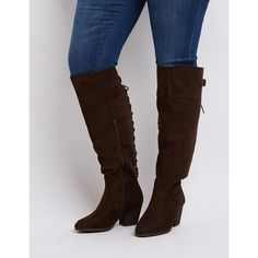 Charlotte Russe Wide Width Laced Knee-High Boots ($49) via Polyvore featuring shoes, boots, brown, chunky-heel boots, knee high boots, wide width boots, brown knee high lace up boots and lace up boots