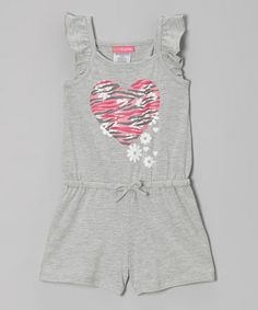 Loving this Gray & Pink Heart Angel-Sleeve Romper - Infant, Toddler & Girls on #zulily! #zulilyfinds