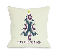 Holiday Tis The Season Ikat Tree Reversible Throw Pillow