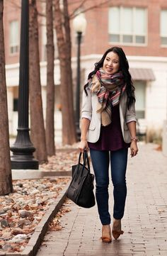 Cute peplum and blazer layering, zara tartan plaid blanket scarf outfit! Blanket Scarf Outfit, How To Wear A Blanket Scarf, Plaid Blanket, Blazer Outfits, Fall Outfits, Cute Outfits, Peplum Blazer, Beige Blazer Outfit, Work Outfits