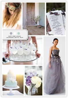 Woooow, just wow! I adore the steel-gray dress at the bottom <3 so beautiful. It is a color palette of lavender, white, and mint from the site 'The Inspired Bride' and here is their website if you're interested: [http://www.inspiredbride.net]