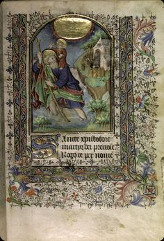 Aurillac - BM - ms. 0002 FOLIO/PAGEf. 015 TITRE ENLUMINURE / SUJETSaint Christophe portant l'Enfant Jésus CONTEXTEMiniature NOTES ENLUMINUREGrand disque d'or à liseré rouge (gloire), rayonnant au-dessus du groupe (cf. f. 59v). L'ermite, lanterne à la main, se tient au seuil d'une chapelle avec enclos construite au bord d'une forêt, sur un promontoire. TITRE OUVRAGEHeures à l'usage de Bayeux DOMAINELiturgie ; Dévotion DATATIONvers 1430-1440 ORIGINE GEOGRAPHIQUEFrance (ouest)