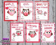 OWL VALENTINES - Printable Owl Valentine Cards - Classroom Valentines - Valentines for School Valentines for a girl - Diy Valentine Cards Valentines Day Cards Diy, Valentines For Boys, Valentines Diy, Owl Card, Diy For Girls, Valentino, Classroom, Free, School