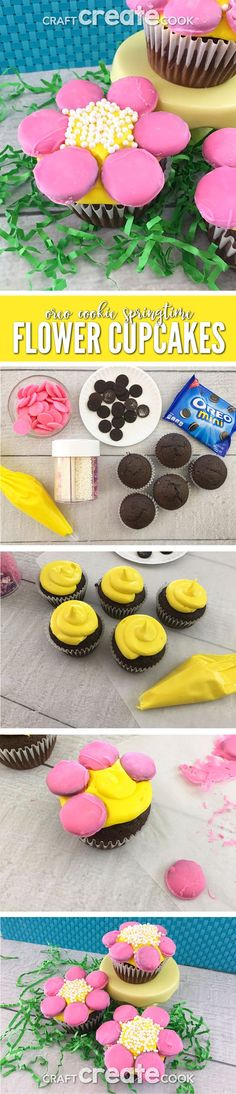 These Oreo Cookie Springtime Cupcake Flowers will be the perfect treat for a warm Spring day. via @CraftCreatCook1