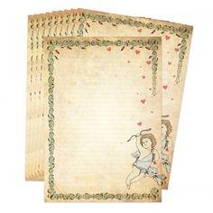 Leuke set briefpapier met een engel. Set van 10 vellen, formaat A4 (29,7 x 21 cm).