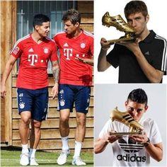 Bota de Oro en Sudáfrica 2010 y Bota de Oro en Brasil 2014. Thomas Müller y James Rodríguez. HISTORIA.
