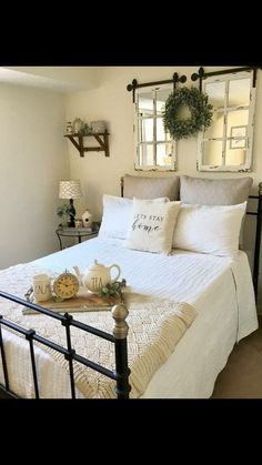 window pane mirrors over the bed to reflect window light.  Round glass table in corner? Cozy Bedroom, White Bedroom, Bedroom Decor, Cozy Dorm Room, Dorm Rooms Decorating, Cosy Bedroom, Decorating Bedrooms, White Bedrooms, Peaceful Bedroom
