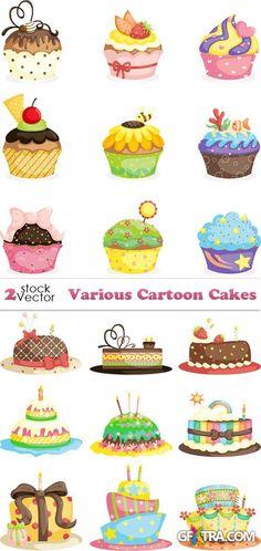 Vectors - Various Cartoon Cakes