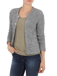 SET Strickblazer mit Alpaka-Anteil in Hellgrau   FASHION ID Online Shop Knit Fashion, Knitting, Sweaters, Grey, Black, Knit Jacket, Jackets, Tricot, Breien