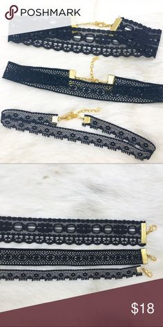 """3s' a Party Bundle The bundle includes three lace designed chokers. Mix and match these with your favorite Jewelry or wear alone.  All chokers measure 11 1/2""""-14 1/2"""". NO TRADES. Addison Ross Jewelry Necklaces"""