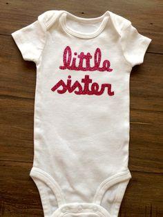 Short Sleeve Little Sister Onesie by OliveandBirdie on Etsy, $17.00
