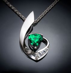 emerald necklace, May birthstone, Mother's day, fine jewelry, white sapphires, brilliant necklace, artisan gift - 3466