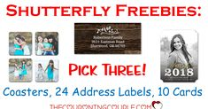HOT FREEBIE! PICK ONE, TWO, or THREE from SHUTTERFLY! Choose 10 cards, 24 address labels and/or coasters! Perfect idea for a special gift! What a great deal! Just pay shipping!     Click the link below to get all of the details ► http://www.thecouponingcouple.com/shutterfly-freebies/ #Coupons #Couponing #CouponCommunity  Visit us at http://www.thecouponingcouple.com for more great posts!