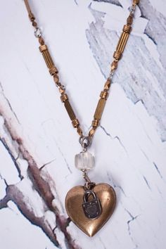 Mark Edge - Vintage Recycled Watch Fob/Heart Necklace