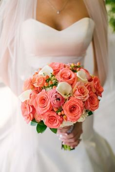 Gorgeous Coral Bouquet for a Summer Garden Wedding Coral Wedding Receptions, Coral Wedding Decorations, Coral Wedding Flowers, Summer Wedding Bouquets, Wedding Reception Flowers, Spring Wedding, Wedding Colors, Coral Navy Weddings, Autumn Wedding