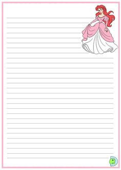 """""""Princesses"""": """"Ariel"""" from """"The Little Mermaid"""" - Disney Girls - Paper Notebook Paper Printable, Printable Lined Paper, Free Printable Stationery, Diy Paper, Paper Crafts, Vintage Christmas Images, Specialty Paper, Stationery Paper, Disney Scrapbook"""