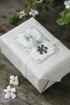 Jeanne d'Arc Livíng Blog - this is an idea for wrapping a gift for any christian or religious occasion ; just change it up