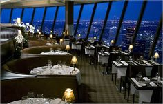 360 - revolving restaurant 1,200 ft up at the CN tower overlooking Toronto