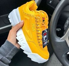 f88bf4200f53 Fila Disruptor Ii Premium Repeat Womens Yellow Trainers - 8 UK  5054598767697