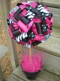 ribbon topiary for zebra hot pink black party shower centerpiece decoration