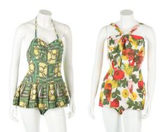 1960s printed cotton swimsuits