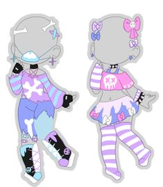 Pastel Goth Bone Crazy Outfits (closed) by Horror-Star on DeviantArt