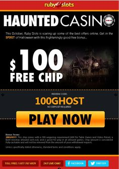 $100 free chip available at the #ruby #slots #casino welcome you.The Ruby Slots online casino provides top level customer support, fast payouts, best #casino #games and promotions offer. To take the advantage of this offer, use Redeem coupon code:  100GHOST then 100 USD free instantly added into your casino account.