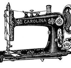 Vintage Clip Art – Antique Sewing Machine & Table