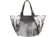 Grey Leather tote handbag Half moon shape bag by completbags, $290.00