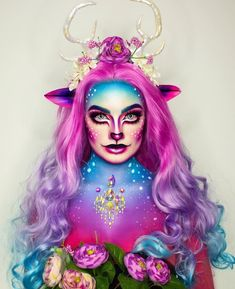 Awesome makeup by talented with long curly colorful lace front wig Face Paint Makeup, Eye Makeup Art, Sfx Makeup, Costume Makeup, Unicorn Makeup, Mermaid Makeup, Edgy Makeup, Crazy Makeup, Tinta Facial