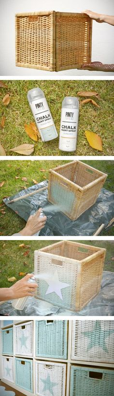 DIY: Cestas pintadas con Chalk paint en spray.