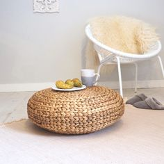 In stye for this season, this sustainable wicker pouffe is a comforting piece for any living space. Also use as a coffee table!