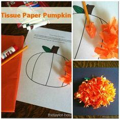 Fall Craft: Tissue Paper Pumpkin with FREE PRINTABLE