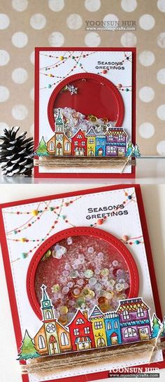 rejoicingcrafts penny black christmas in july shaker card with gleeful stamp set wonderful jolly stamp set