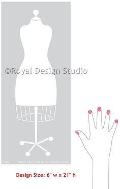 Dress Form Wall Art Stencils fpr Craft Room or Girls Room Decor - Royal Design Studio