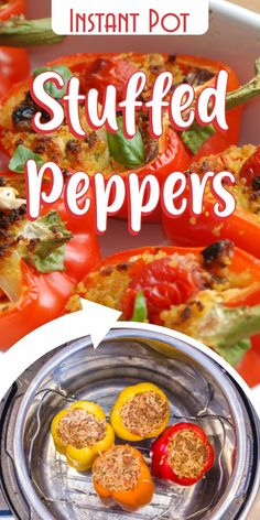 Amazing stuffed pepper recipe you can make using the Instant Pot.    To prepare the peppers, I carefully remove the top and the seeds and membranes inside, so the pepper looks like a deep bowl. You can use a sharp knife to remove the top, but for the seeds and insides, it's best to use your hands.