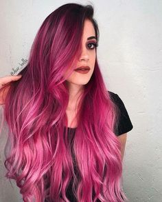 33 trendy ombre hair color ideas of 2019 - Hairstyles Trends Pretty Hair Color, Hair Color Dark, Amazing Hair Color, Pink Ombre Hair, Long Pink Hair, Hair Dye Colors, Coloured Hair, Grunge Hair, Pretty Hairstyles