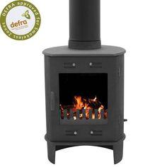 http://www.gr8fires.co.uk/carron-dante-5kw-matt-black-defra-multifuel-stove-6207/?utm_source=Social&utm_medium=Social - Carron Dante 5 kW Matt Black DEFRA Multifuel Stove in a cylindrical shape.