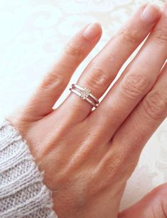 Sterling Silver and Herkimer Diamond Double Band Ring - Raw Stone Ring - Split Band - Rough Crystal Engagement Ring - Boho Jewelry Vintage Gold Engagement Rings, Diamond Cluster Engagement Ring, Princess Cut Engagement Rings, Rose Gold Engagement Ring, Diamond Bands, Gold Bands, Diamond Wedding Bands, Double Band Wedding Ring, Double Ring