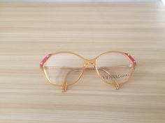edc4553a3989 Items similar to Yellow Red Butterfly Eyeglasses Oversized Vintage  Eyeglasses Viennaline Cat eye glasses Optyl Large Retro Glasses 80s  Spectacle Frame ...